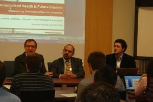 Pablo Serrano (Fuenlabrada Univ. Hospital), Josema Cavanillas (ATOS R&I) and Miguel A. Sicilia (Univ. of Alcala) in the opening session